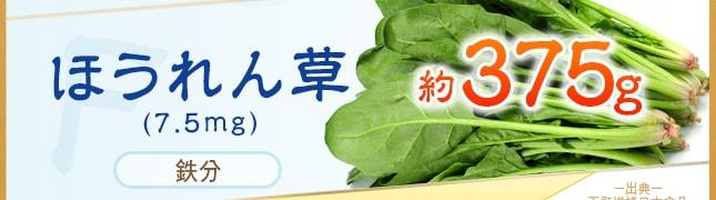 ほうれん草(7.5mg)鉄分 約375g 出展 五訂増補に本食品標準成分表から算出