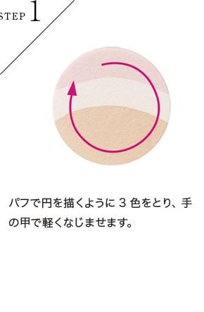 パフで円を描くように3色をとり、手の甲で軽くなじませます。