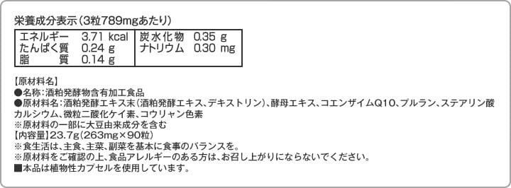 栄養成分表示(3粒789mgあたり)