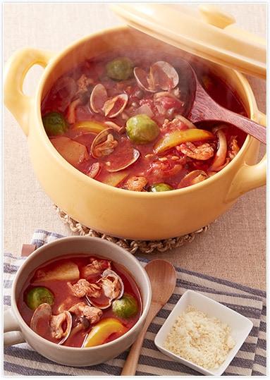 流行の予感・オイル鍋にチャレンジ!〝あさりと豚のトマトオイル鍋〟