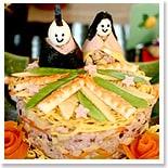 """ひな祭りパーティに国産十八雑穀で作る可愛い""""お雛様のちらし寿司"""""""
