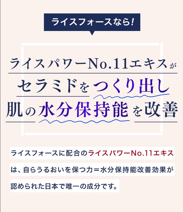 ライスフォースなら!ライスパワーNo.11エキスがセラミドをつくり出し肌の水分保持能を改善 ライスフォースに配合のライスパワーNo.11エキスは、自らうるおいを保つ力=水分保持能改善効果が認められた日本で唯一の成分です。