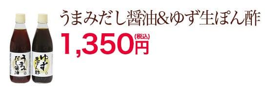 うまみだし醤油&ゆず生ぽん酢 1,250円(税抜)