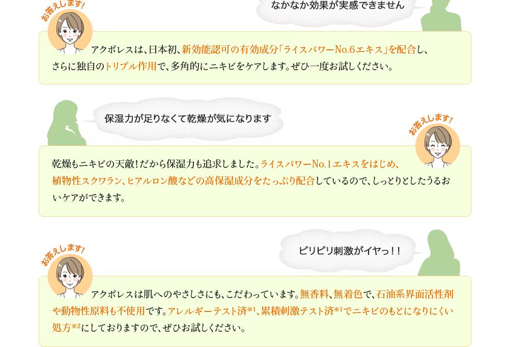 なかなか効果が実感できません:アクポレスは、日本初、新効能認可の有効成分「ライスパワーNo.6エキス」を配合し、さらに独自のトリプル作用で、多角的にニキビをケアします。ぜひ一度お試しください。 保湿力が足りなくて乾燥が気になります:乾燥もニキビの天敵!だから保湿力も追求しました。ライスパワーNo.1エキスをはじめ、植物性スクワラン、ヒアルロン酸などの高保湿成分をたっぷり配合しているので、しっとりとしたうるおいケアができます。 ピリピリ刺激がイヤっ!!:アクポレスは肌へのやさしさにも、こだわっています。無香料、無着色で、石油系界面活性剤や動物性原料も不使用です。アレルギーテスト済※1、累積刺激テスト済※1でニキビのもとになりにくい処方※2にしておりますので、ぜひお試しください。